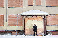 """Matthew Desmond is John L. Loeb Associate Professor of the Social Sciences at Harvard University, Co-Director of the Justice and Poverty Project, and a MacArthur Fellow, seen here near Central Square, in Cambridge, Massachusetts, USA, on Wed., Feb. 10, 2016. Desmond recently published the book, """"Evicted: Poverty and Profit in the American City,"""" published by Crown."""
