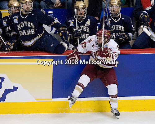 Pat Gannon (BC 13) - ?, Kyle Lawson (Notre Dame 2), Dan VeNard (Notre Dame 4), Brett Blatchford (Notre Dame 3) - The Boston College Eagles won the NCAA D1 national championship by defeating the University of Notre Dame Fighting Irish 4-1 in the final of the 2008 Frozen Four at the Pepsi Center in Denver, Colorado on Saturday, April 12, 2008.