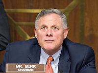 """United States Senator Richard Burr (Republican of North Carolina), Chairman, US Senate Select Committee on Intelligence questions the witnesses during the open hearing titled """"Disinformation: A Primer in Russian Active Measures and Influence Campaigns"""" on Capitol Hill in Washington, DC on Thursday, March 30, 2017. Photo Credit: Ron Sachs/CNP/AdMedia"""