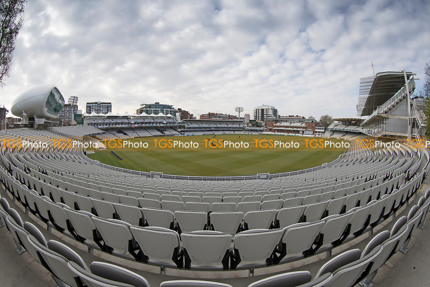 A fish eye view of Lords Cricket Ground from the Compton Stand during Middlesex CCC vs Lancashire CCC, Specsavers County Championship Division 2 Cricket at Lord's Cricket Ground on 12th April 2019