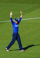 England captain Eoin Morgan raises his hands during the ICC Cricket World Cup one day pool match between the New Zealand Black Caps and England at Wellington Regional Stadium, Wellington, New Zealand on Friday, 20 February 2015. Photo: Dave Lintott / lintottphoto.co.nz