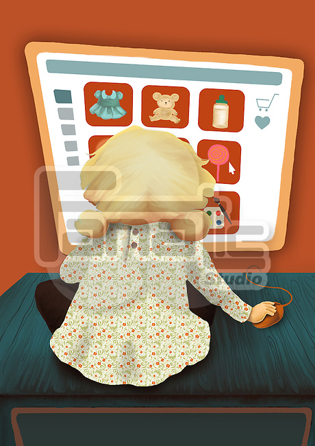 Illustration of kid shopping online