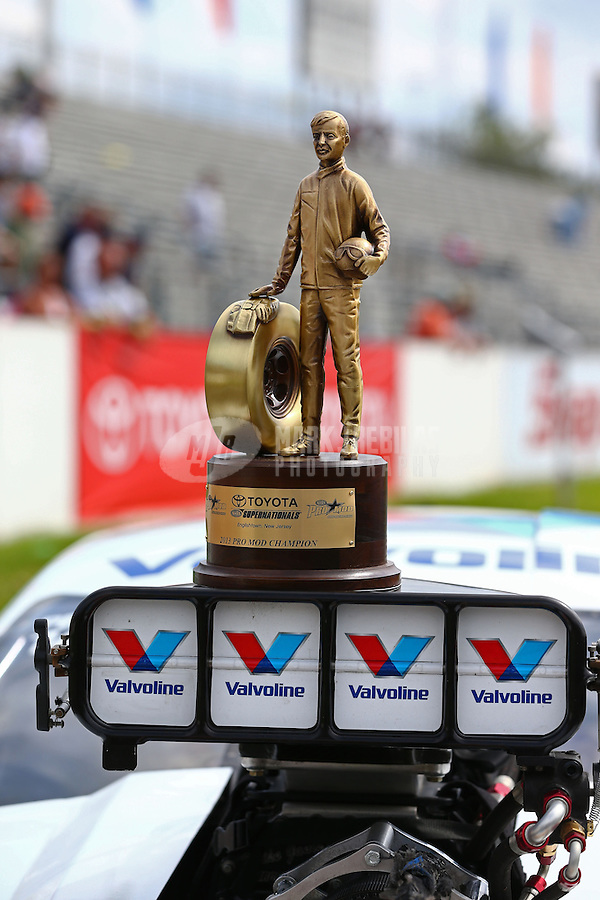 Jun. 2, 2013; Englishtown, NJ, USA: Detailed view of the NHRA trophy won by pro mod driver Mike Janis after winning the Summer Nationals at Raceway Park. Mandatory Credit: Mark J. Rebilas-