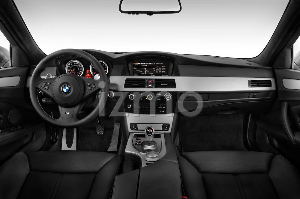 Straight dashboard view of a 2008 BMW M5 Sedan
