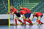 Leipzig, Germany, February 08: Players of Russia line up on the goal line before a penalty corner during the placement match (5th / 6th) between Sweden (yellow) and Russia (red) on February 8, 2015 at the FIH Indoor Hockey World Cup at Arena Leipzig in Leipzig, Germany. Final score 1-3 (1-0). (Photo by Dirk Markgraf / www.265-images.com) *** Local caption ***