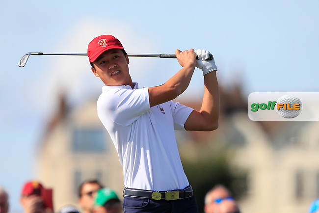 Brandon Wu (USA) on the 2nd tee during Day 1 Singles of the Walker Cup at Royal Liverpool Golf CLub, Hoylake, Cheshire, England. 07/09/2019.<br /> Picture: Thos Caffrey / Golffile.ie<br /> <br /> All photo usage must carry mandatory copyright credit (© Golffile   Thos Caffrey)