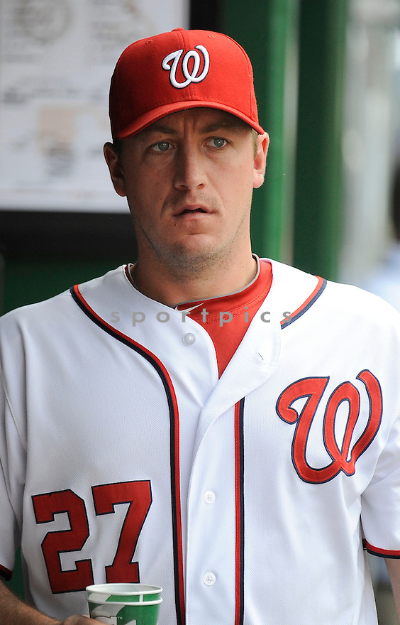 Washington Nationals Jordan Zimmermann (27) during a game against the St. Louis Cardinals on April 24, 2013 at Nationals Park in Washington DC. The Cardinals beat the Nationals 4-2.