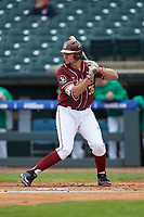 Cal Raleigh (35) of the Florida State Seminoles at bat against the Notre Dame Fighting Irish in Game Four of the 2017 ACC Baseball Championship at Louisville Slugger Field on May 24, 2017 in Louisville, Kentucky. The Seminoles walked-off the Fighting Irish 5-3 in 12 innings. (Brian Westerholt/Four Seam Images)