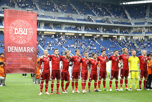 Denmark team group line-up (DEN),<br /> JUNE 7, 2016 - Football / Soccer :<br /> Denmark players sing the national anthem before the Kirin Cup Soccer 2016 3rd Place Playoff match between Denmark 4-0 Bulgaria at Suita City Football Stadium in Osaka, Japan. (Photo by Kenzaburo Matsuoka/AFLO)