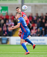 Lincoln City's Jason Shackell vies for possession with Sunderland's Charlie Wyke<br /> <br /> Photographer Chris Vaughan/CameraSport<br /> <br /> The EFL Sky Bet League One - Lincoln City v Sunderland - Saturday 5th October 2019 - Sincil Bank - Lincoln<br /> <br /> World Copyright © 2019 CameraSport. All rights reserved. 43 Linden Ave. Countesthorpe. Leicester. England. LE8 5PG - Tel: +44 (0) 116 277 4147 - admin@camerasport.com - www.camerasport.com