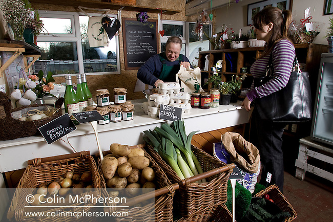 The farm shop at the Walton Lea Project, at Walton near Warrington, pictured as part of the Cheshire Food Trail. The project was set up to help train adults with special needs in fruit and vegetable growing, production and selling. The project is based in an old farmstead which includes a walled garden, farm shop training facilities.