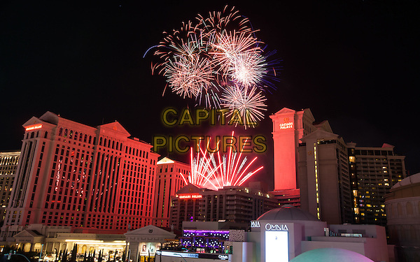 LAS VEGAS, NV - July 4: July 4th fireworks display at Caesars Palace in Las Vegas, NV on July 4, 2015.  <br /> CAP/MPI/EKP<br /> &copy;EKP/MediaPunch/Capital Pictures