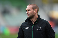 Mark Laycock of Newcastle Falcons looks on during the pre-match warm-up. Premiership Rugby Cup match, between Harlequins and Newcastle Falcons on November 4, 2018 at the Twickenham Stoop in London, England. Photo by: Patrick Khachfe / JMP