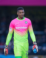 Goalkeeper Jamal Blackman of Wycombe Wanderers during the Sky Bet League 2 match between Wycombe Wanderers and Yeovil Town at Adams Park, High Wycombe, England on 14 January 2017. Photo by Andy Rowland / PRiME Media Images.