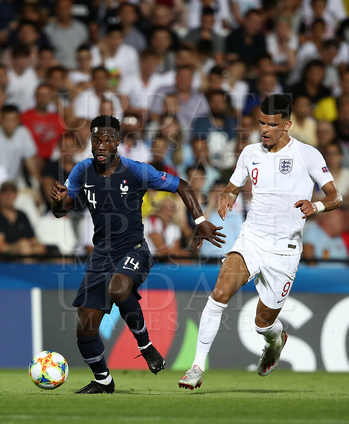 Football: Uefa under 21 Championship 2019, England - France, Dino Manuzzi stadium Cesena Italy on June18, 2019.<br /> France's Jonathan Bamba (l) in action with England's Dominic Solanke (r) during the Uefa under 21 Championship 2019 football match between England and France at Dino Manuzzi stadium in Cesena, Italy on June18, 2019.<br /> UPDATE IMAGES PRESS/Isabella Bonotto