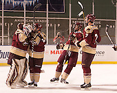 Chris Czarnota (Norwich - 1), Shane Gorman (Norwich - 16), ?, Ryan Whitell (Norwich - 7) - The Norwich University Cadets defeated the Babson College Beavers 1-0 on Thursday, January 9, 2014, at Fenway Park in Boston, Massachusetts.