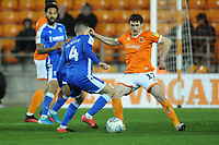 Gillingham's Stuart O'Keefe under pressure from Blackpool's Matty Virtue<br /> <br /> Photographer Kevin Barnes/CameraSport<br /> <br /> The EFL Sky Bet League One - Blackpool v Gillingham - Tuesday 11th February 2020 - Bloomfield Road - Blackpool<br /> <br /> World Copyright © 2020 CameraSport. All rights reserved. 43 Linden Ave. Countesthorpe. Leicester. England. LE8 5PG - Tel: +44 (0) 116 277 4147 - admin@camerasport.com - www.camerasport.com