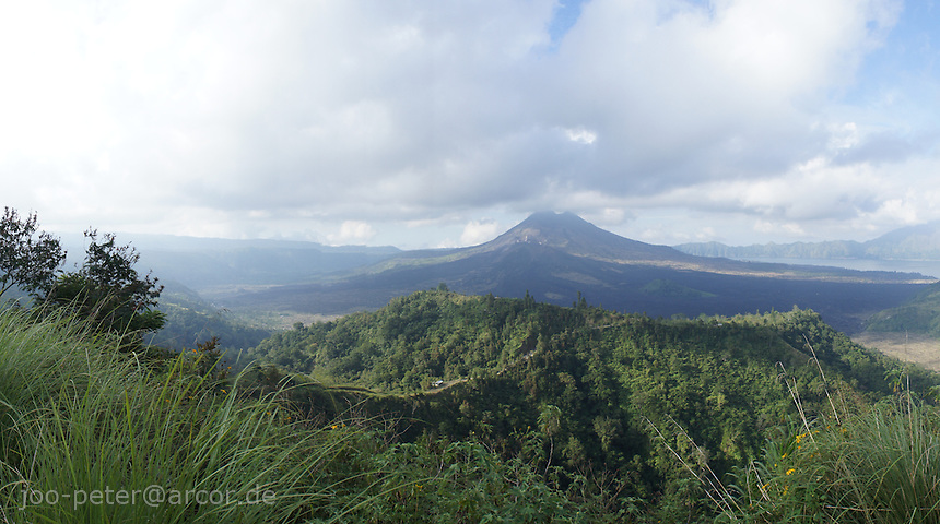 view on vulcano Batur and valley inside the crater, Bali, archipelago Indonesia, 2010