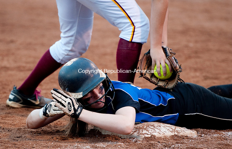 STRATFORD, CT--061215JS12-  Oxford's Meghan Sastram (23) calls time out after diving back to second base during their Class M state championship game against St. Joseph  Friday at DeLuca Field in Stratford. <br /> Jim Shannon Republican-American