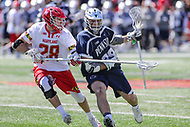 College Park, MD - April 8, 2017: Penn State Nittany Lions Mike Sutton (39) holds off Maryland Terrapins Matt Neufeldt (28) during game between Penn State and Maryland at  Capital One Field at Maryland Stadium in College Park, MD.  (Photo by Elliott Brown/Media Images International)