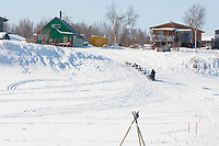 Tom Lesatz runs up the Yukon River bank and into the Kaltag checkpoint during the 2010 Iditarod