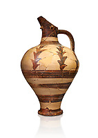 Minoan decorated jug for export, Kommos Harbour 1600-1450 BC; Heraklion Archaeological  Museum, white background.