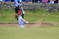 Robert MacIntyre (SCO) chips from a bunker at the 18th green during Saturday's Round 3 of the Dubai Duty Free Irish Open 2019, held at Lahinch Golf Club, Lahinch, Ireland. 6th July 2019.<br /> Picture: Eoin Clarke | Golffile<br /> <br /> <br /> All photos usage must carry mandatory copyright credit (© Golffile | Eoin Clarke)