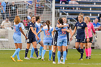 Bridgeview, IL, USA - Sunday, May 29, 2016: Sky Blue FC midfielder Nikki Stanton (7) hugs Chicago Red Stars midfielder Vanessa DiBernardo (10) after a regular season National Women's Soccer League match between the Chicago Red Stars and Sky Blue FC at Toyota Park.
