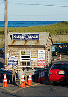 Security check booth at Nauset beach, Cape Cod National seashore, Orleans, Massachusetts, USA