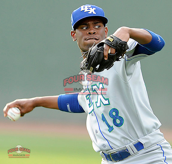 Pitcher Torey Deshazier (18) of the Lexington Legends in a game against the Greenville Drive on Tuesday, April 14, 2015, at Fluor Field at the West End in Greenville, South Carolina. (Tom Priddy/Four Seam Images)