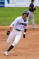 Beloit Snappers outfielder Mickey McDonald (4) rounds third base during a Midwest League game against the Quad Cities River Bandits on May 20, 2018 at Pohlman Field in Beloit, Wisconsin. Beloit defeated Quad Cities 3-2. (Brad Krause/Four Seam Images)