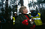 Many of the protesters were local, middle class people.  Newbury road protest  1996