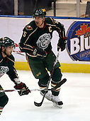 February 24th 2008:  Erik Reitz (5) of the Houston Aeros skates up ice during a game vs. the Rochester Amerks at Blue Cross Arena at the War Memorial in Rochester, NY.  The Aeros defeated the Amerks 4-0.   Photo copyright Mike Janes Photography 2008