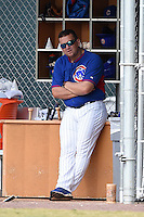 Chicago Cubs coach Osmin Melendez during an Instructional League intersquad game on October 9, 2014 at Cubs Park Complex in Mesa, Arizona.  (Mike Janes/Four Seam Images)