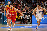 Sergio Llull of Spain and Rigoberto Mendoza of Dominican Republic during the Friendly match between Spain and Dominican Republic at WiZink Center in Madrid, Spain. August 22, 2019. (ALTERPHOTOS/A. Perez Meca)