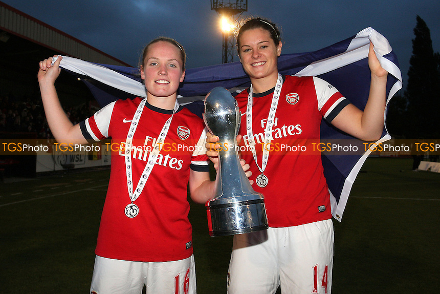Kim Little (L) and Jennifer Beattie of Arsenal celebrate winning the FAWSL Championship  - Arsenal Ladies vs Doncaster Rovers Belles - FA Womens Super League Football at Boreham Wood FC - 30/09/12 - MANDATORY CREDIT: Gavin Ellis/TGSPHOTO - Self billing applies where appropriate - 0845 094 6026 - contact@tgsphoto.co.uk - NO UNPAID USE.