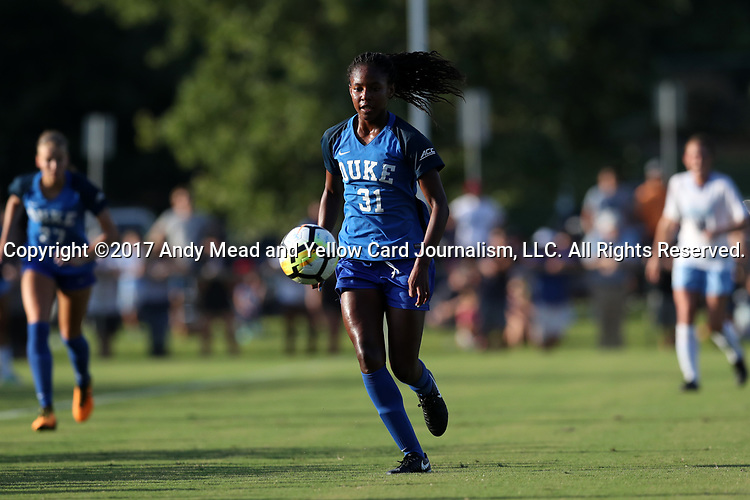CARY, NC - AUGUST 18: Duke's Taylor Mitchell. The University of North Carolina Tar Heels hosted the Duke University Blue Devils on August 18, 2017, at Koka Booth Stadium in Cary, NC in a Division I college soccer game.