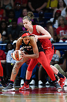 Washington, DC - July 13, 2019: Las Vegas Aces center A'ja Wilson (22) is guarded by Washington Mystics center Emma Meesseman (33) during game between Las Vegas Aces and Washington Mystics at the Entertainment & Sports Arena in Washington, DC. The Aces defeated the Mystics 81-85. (Photo by Phil Peters/Media Images International)