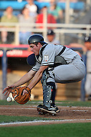 Staten Island Yankees catcher Jeff Farnham during a game vs. the Jamestown Jammers at Russell Diethrick Park in Jamestown Jammers, New York July 15, 2010.   Jamestown defeated Staten Island 5-1.  Photo By Mike Janes/Four Seam Images