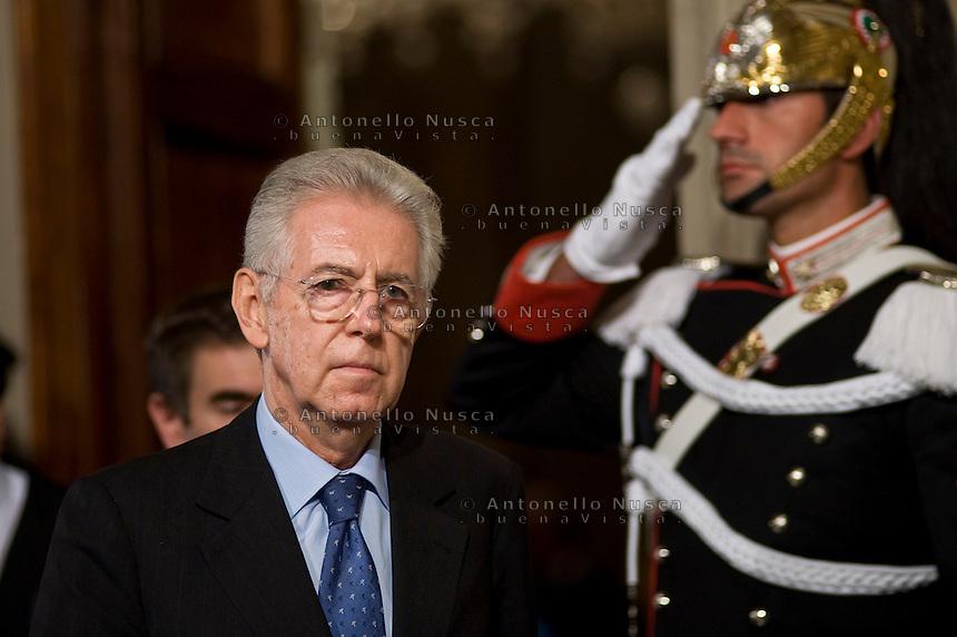 Mario Monti arriva al Quirinale per ricevere dal Presidente della Repubblica Giorgio Napolitano l'incarico di formare il nuovo governo..Italy's new premier-designate economist Mario Monti arrives at the Quirinale Presidential Palace to talk with Italian President Giorgio Napolitano.