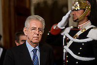 Mario Monti arriva al Quirinale per ricevere dal Presidente della Repubblica Giorgio Napolitano l'incarico di formare il nuovo governo..Italy's new premier-designate economist Mario Monti arrives at the Quirinale Presidential Palace to talk with Italian President Giorgio Napolitano.