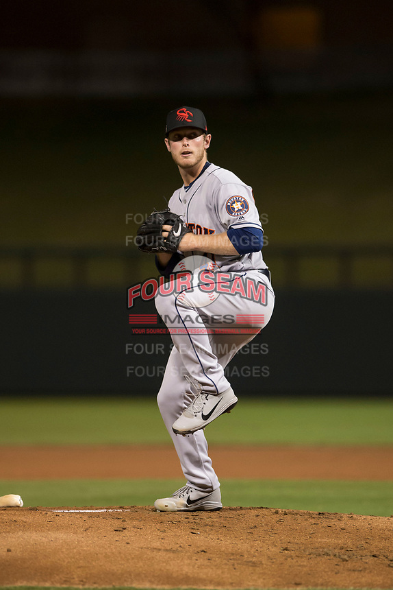 Scottsdale Scorpions relief pitcher J.B. Bukauskas (41), of the Houston Astros organization, delivers a pitch during an Arizona Fall League game against the Salt River Rafters at Salt River Fields at Talking Stick on October 11, 2018 in Scottsdale, Arizona. Salt River defeated Scottsdale 7-6. (Zachary Lucy/Four Seam Images)