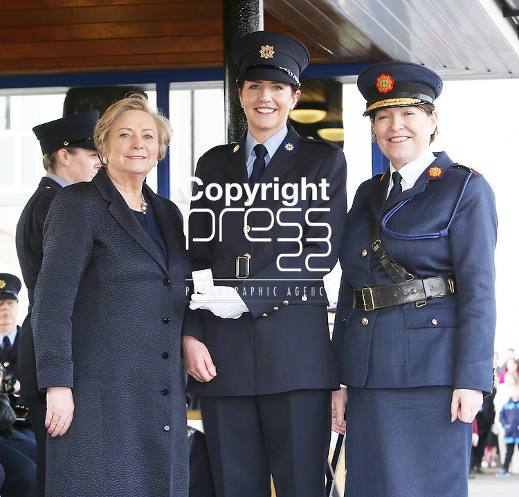 7/3/2016.   Minister for Justice and Equality Frances Fitzgerald and the Garda Commissioner Noirin O&rsquo;Sullivan at the Garda graduations in the the Garda College Templemore presenting the Commissioners Medal  to Garda Aisling Hayes who is from Firhouse, Dublin and will be stationed in Enniscorthy, Wexford.<br /> Photograph: Liam Burke/Press 22