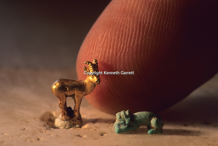 Small figurines from Gonur Depe site, Gold ram and carved stone lion, Oxus