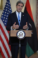 March 13, 2013  (Washington, DC)  Secretary of State John Kerry makes a statement before a bilateral meeting with Libyan Prime Minister Ali Zeidan at the Department of State in Washington, D.C.  (Photo by Don Baxter/Media Images International)