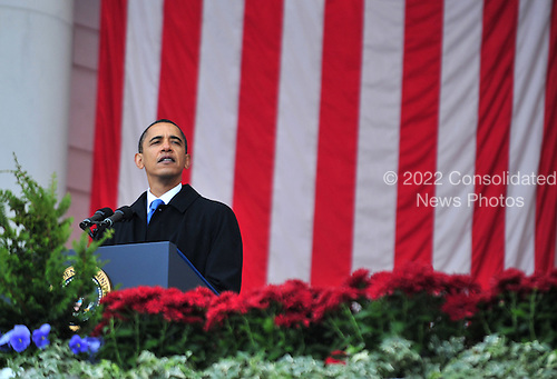 Arlington, VA - November 11, 2009 -- United States President Barack Obama delivers remarks at a Veterans Day ceremony at Arlington National Cemetery, in Arlington, Virginia on Wednesday, November 11, 2009. .Credit: Kevin Dietsch / Pool via CNP