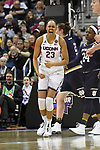 COLUMBUS, OH - MARCH 30: Azura Stevens #23 of the Connecticut Huskies reacts after a good play against Notre Dameduring a semifinal game of the 2018 NCAA Division I Women's Basketball Final Four at Nationwide Arena in Columbus, Ohio. (Photo by Justin Tafoya/NCAA Photos via Getty Images)