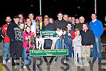 Domic Mgnano (Centre) of Greyhound & Pet World presenting Owner of Ballymac Bull Shane Dowling (7th left) with the winning trophy of the 2008 Greyhound & Petworld Kingdom Derby Final at the Kingdom Greyhound Stadium on Saturday.   Copyright Kerry's Eye 2008