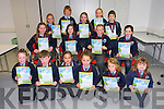 Kilcummin National School.  Front left to right, Kyla Shine, Michael Healy, Aleksandra Mileusniic, Liadh O'Connell, Caoimhe Ni Cheallachain,  Caoimhe Murray, middle  Ciara Foran, Niamh Murphy, Daragh O'Callaghan, Ella Kehoe, back Sorcha McCarthy, Jack McClain, Becca O'Sullivan, Caoimhe Redigan and Luke Pomeranz award winners at the Scriobh Leabhar Presentation evening in the Eduction Centre Dromthacker Tralee