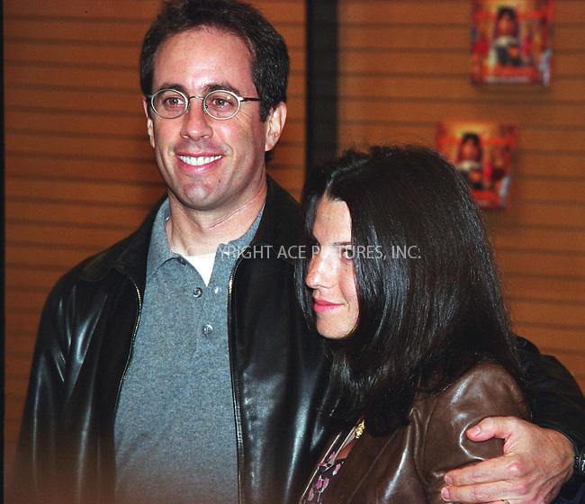"""Comedian Jerry Seinfeld promotes his book """"Halloween"""" at Barnes and Noble in New York City. October 20, 2002. REF: AMUS2099. Please byline: Anthony Moore/NY Photo Press.   ..*PAY-PER-USE*      ....NY Photo Press:  ..phone (646) 267-6913;   ..e-mail: info@nyphotopress.com"""